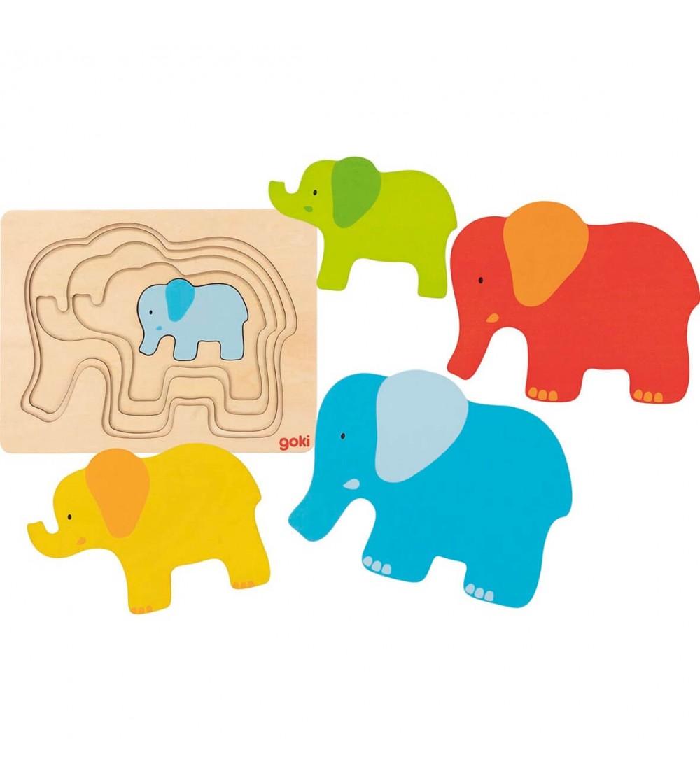 Puzzle straturi Goki - Elefant - Puzzle-uri