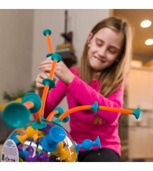 Joc de constructie Fat Brain Toys, Squigz Toobz - Jucării bebeluși
