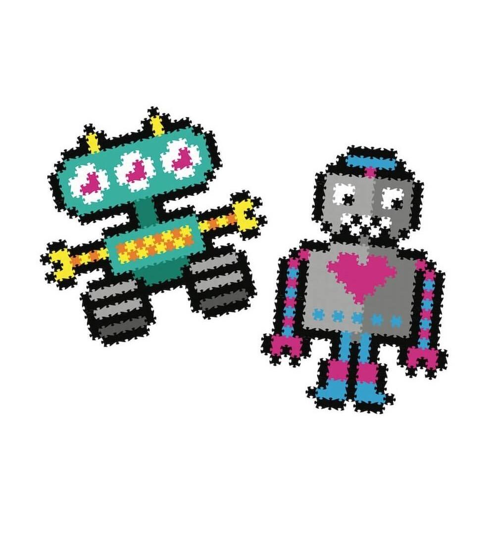 Set micro-puzzle Jixelz Fat Brain Toys 700 piese Roboti - Puzzle-uri