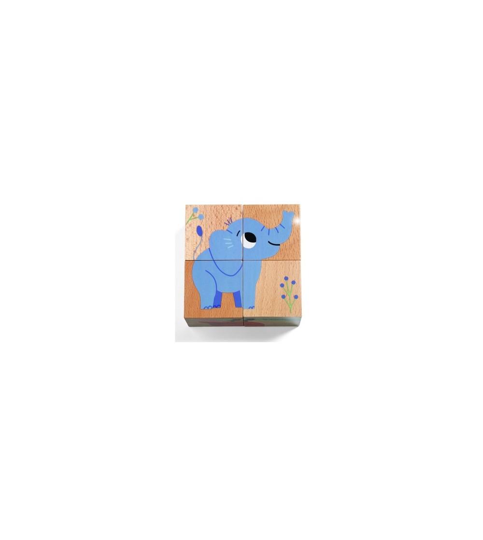 Cuburi din lemn Djeco, animale salbatice - Puzzle-uri