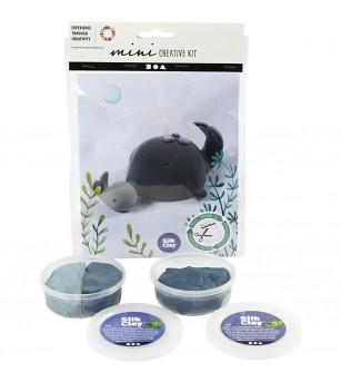 Mini kit creativ din plastilina Silk Clay - Balena si pui - Crafturi