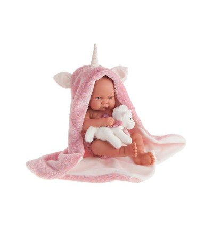 Papusa bebe realist Nica cu prosopel unicorn, Antonio Juan - Papusi
