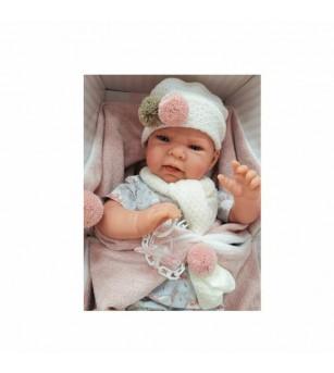 Papusa bebe realist Lea cu plapumioara, 40 cm, Antonio Juan - Papusi si jucarii de plus