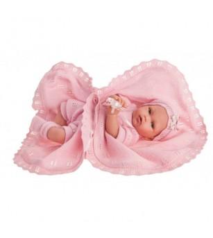 Papusa fetita Peke, cu paturica roz, 29 cm, Antonio Juan - Papusi