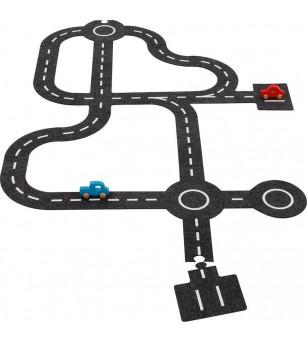 Traseu rutier cu 2 vehicule din lemn, Goki - Vehicule de jucărie
