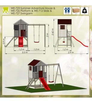 Casuta de gradina Summer Adventure House cu platforma cu loc pentru nisip, tobogan si leagan (M9) - Locuri de joacă