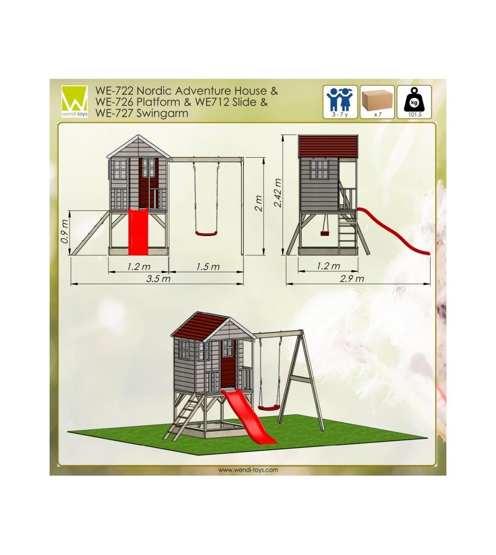 Casuta de gradina Nordic Adventure House cu platforma cu loc pentru nisip, tobogan si leagan (M10) - Locuri de joacă