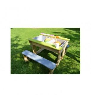Masa de picnic senzoriala T2 Deluxe cu bancute si loc pentru nisip si apa, Wendi Toys - Locuri de joacă