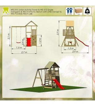 Turn de joaca cu 2 platforme, panou de catarare, tobogan, leagan, masuta de picnic cu bancute si lada de nisip - Locuri de joacă