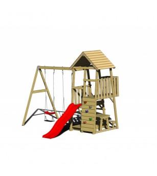 Turn de joaca cu 2 platforme, panou de catarare, tobogan, 2 leagane, masuta de picnic cu bancute si lada de nisip - Locuri de...