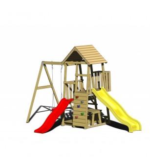 Turn de joaca cu 2 platforme, panou de catarare, 2 tobogane, leagan, masuta de picnic cu bancute si lada de nisip - Locuri de...