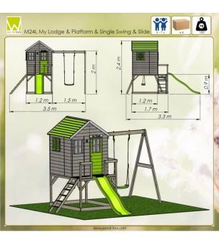 Casuta de gradina Lime Lodge cu platforma, tobogan si leagan (M24L) - Locuri de joacă