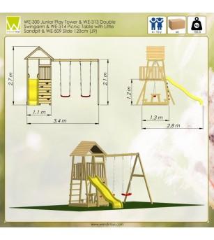 Turn de joaca cu panou de catarare, tobogan, 2 leagane, masuta de picnic cu bancute si lada de nisip (J9) - Locuri de joacă
