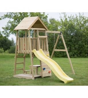 Turn de joaca cu panou de catarare, tobogan, leagan, masuta de picnic cu bancute si lada de nisip (J7) - Locuri de joacă