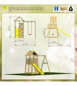Turn de joaca cu panou de catarare, tobogan, leagan si lada de nisip cu capac (J3) - Locuri de joacă