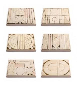 Set 6 modele blocuri arhitecturale de construit, natur, 158 buc, Viga - Jocuri construcție