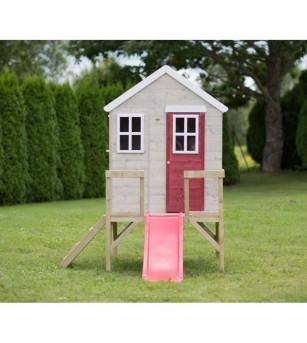 Casuta de gradina My Red Cottage House cu platforma si tobogan (M26R), Wendi Toys - Locuri de joacă