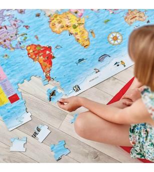 Puzzle si poster Orchard Toys - Harta lumii - Puzzle-uri