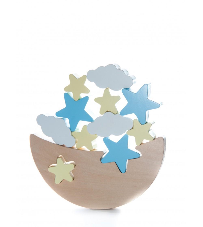 Joc de echilibru Luna cu stele si nourasi - Jucării de lemn si Montessori