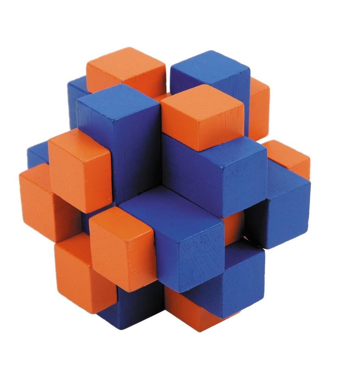 Joc logic IQ din lemn bambus Cub cross colorat - Jucării logică