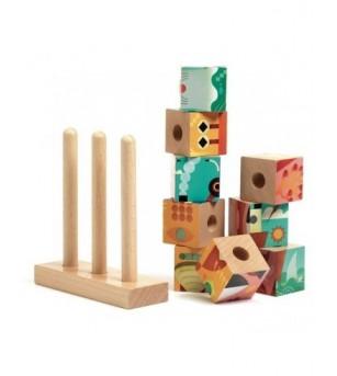 Puzzle vertical cu cuburi Djeco, Puzz-Up Forest - Puzzle-uri