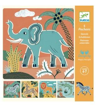 Sabloane Djeco - Animale salbatice - Desen și pictură