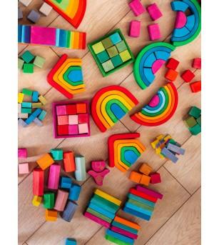Set Handmade, Cuburi si blocuri in ladita - Jucării de lemn si Montessori
