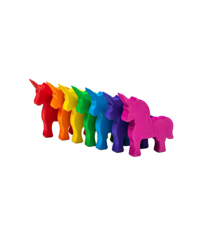 Set Handmade, Unicorni colorati - Jucării de lemn si Montessori