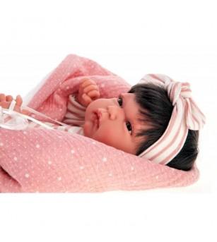 Papusa fetita, bebelus nou nascut Toneta cu par, 33 cm Antonio Juan - Papusi