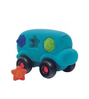 Autobuz interactiv sortator de forme, din cauciuc natural, turcoaz, 1an + Rubbabu - Jucării bebeluși