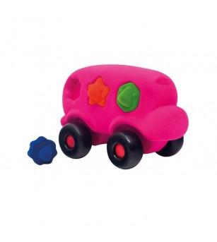 Autobuz interactiv sortator de forme, din cauciuc natural, roz, Rubbabu - Jucării bebeluși