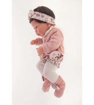 Papusa bebe realist Pipa cu pernuta, cu articulatii, alb-roz, corp realist anatomic, Antonio Juan - Papusi