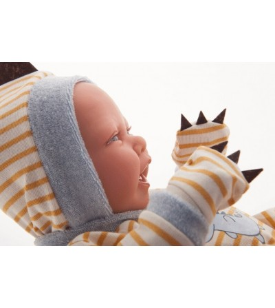 Papusa baietel Bebelus nou nascut, Carlo cu pijama dinozaur, 42 cm, Antonio Juan - Papusi