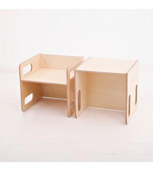 Set masa si scaun din lemn tip Montessori, forma CUB, natur - Masute copii