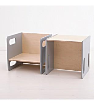Set masa si scaun din lemn tip Montessori, forma CUB, gri - Masute copii