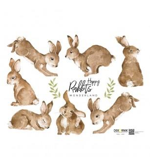 Sticker decorativ Dekornik, Happy Rabbits cafenii - Stickere perete