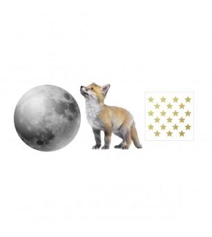 Sticker decorativ Dekornik, micuta vulpe si luna - Stickere perete