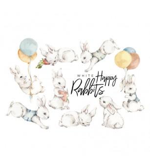 Sticker decorativ Dekornik, Happy Rabbits albi - Stickere perete