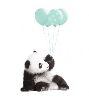 Sticker decorativ Dekornik, Ursulet panda cu baloane mint - Stickere perete