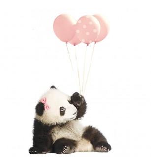 Sticker decorativ Dekornik, Ursulet panda cu baloane roz - Stickere perete
