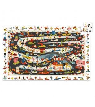 Puzzle observatie Djeco, Raliul masinilor - Puzzle-uri