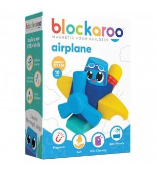 Set cuburi din spuma cu magnet Blockaroo, Avion 10 piese - Jucarii magnetice