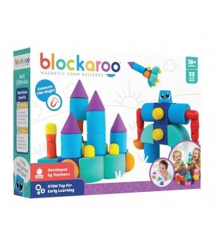 Set cuburi din spuma cu magnet Blockaroo, Castel 35 piese - Jucarii magnetice
