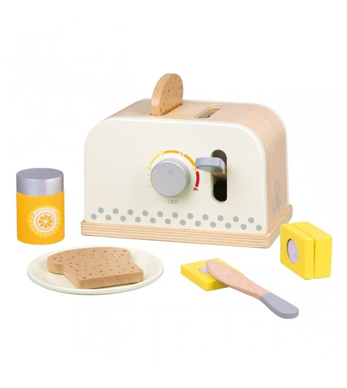 Set toaster din lemn Alb - Jucării de lemn si Montessori