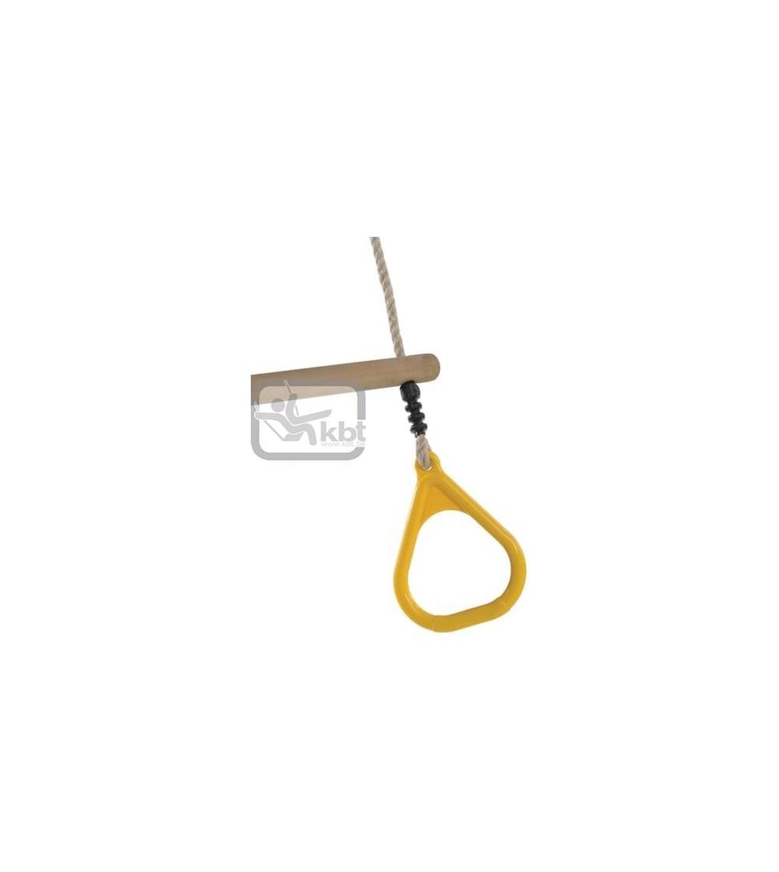 Trapez din lemn cu inele din plastic PP10 - Galben - Locuri de joacă