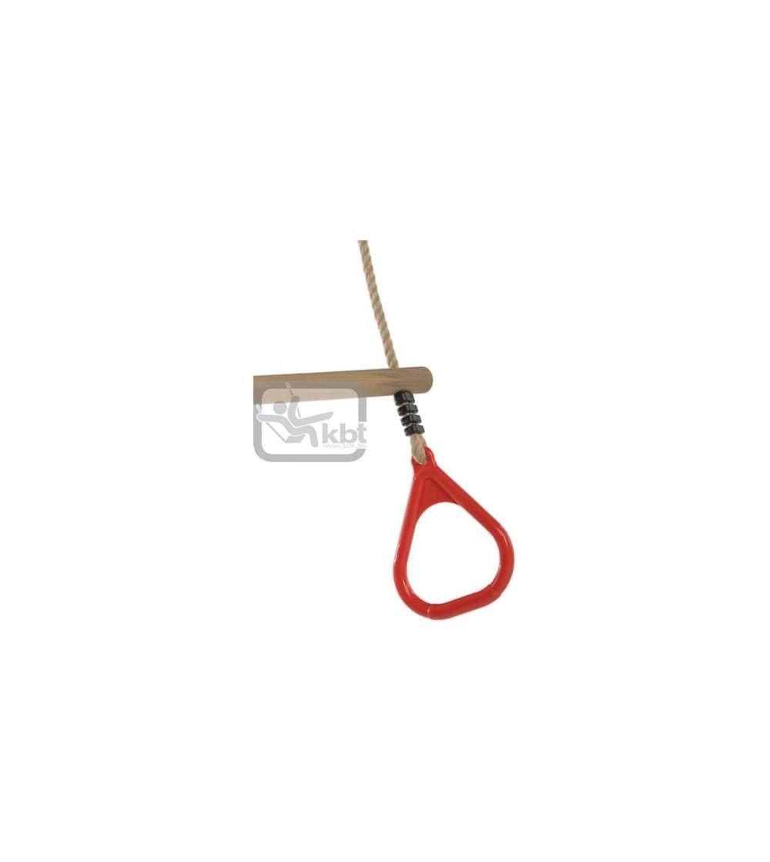 Trapez din lemn cu inele din plastic PP10 - Rosu - Locuri de joacă