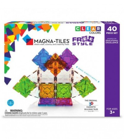 Set magnetic Magna-Tiles Freestyle cu magneti mobili - 40 piese