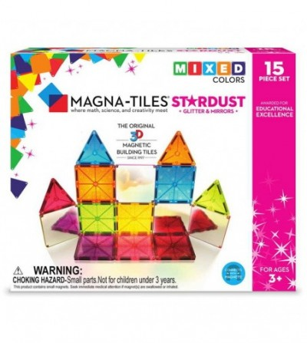 Set magnetic Magna-Tiles Stardust cu sclipici și oglinzi - 15 piese