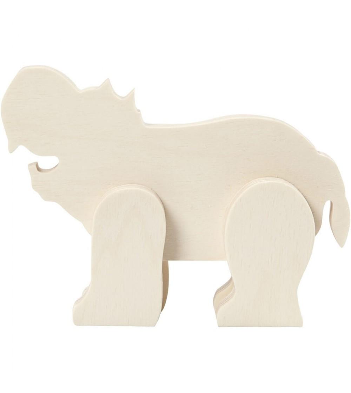 Hipopotam din placaj de lemn