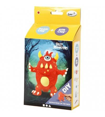 Kit monstru roșu - din plastilina Foam Clay si Silk Clay